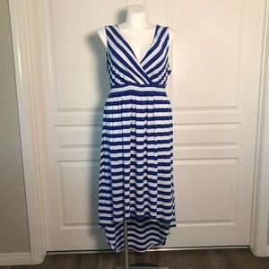 TORRID BLUE & WHITE STRIPE SLEEVELESS HI LO DRESS